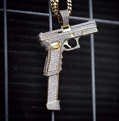 Gun pendantebay 1 large 14k gold plated hand gun pistol pendant with 30 inch franco chain necklace mozeypictures Images