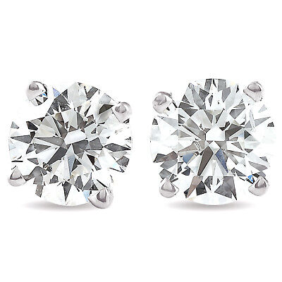 Gold Brilliant Cut Diamond - 1.50Ct Round Brilliant Cut Natural Diamond Stud Earrings In 14K Gold