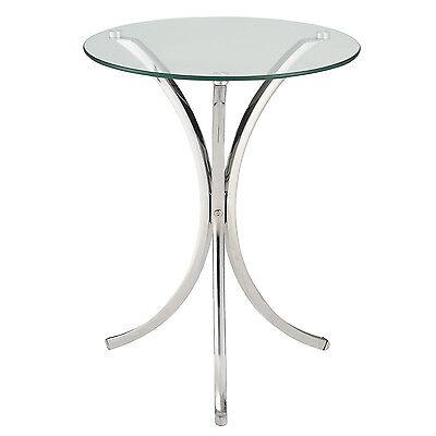 تربيزه جديد Round Tempered Glass Top 3 Curved Chrome Metal Base Accent Side Snack End Table