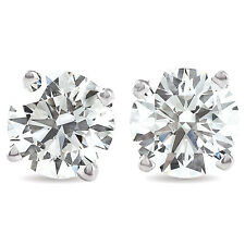 VS 3.60 Ct TW Round Moissanite Screw Back Studs 14k White Gold