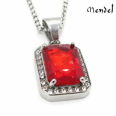 - MENDEL Mens Ruby Rapper Hip Hop Necklace Pendant Chain Stainless Steel Diamond