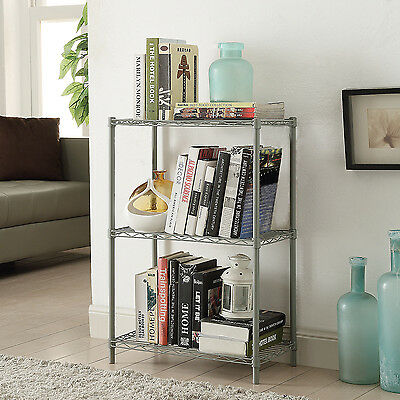 Wire Storage Units - Wire Shelving 3-Tier Metal Shelf  3-Shelf Shelving Unit Storage Rack Organizer