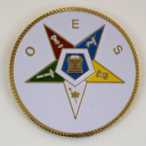 Mini Auto Emblem Order of the Eastern Star OES Metal Masonic Freemason Mason