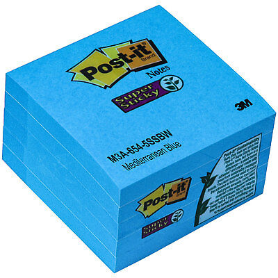 Post-it Notes 654-5ssbw Mediterranean Blue Super Sticky 3x3 Pack Of 5 Pads