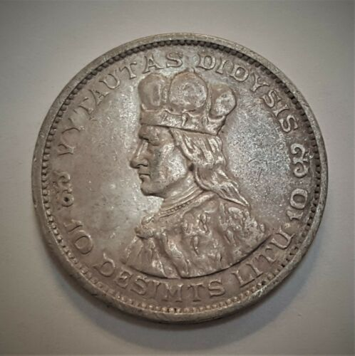 1936 Lithuania 10 Silver Litu Grading in the AU Range Priced Right FREE S&H  f3