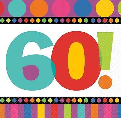 60th Birthday Serviettes (International Dots & Stripes Party Napkins 60th Birthday Anniversary)