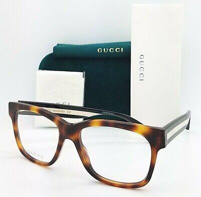 NEW Gucci RX Frame Glasses Havana Black White Stripe GG0342O 005 56mm (Glasses Black And White)