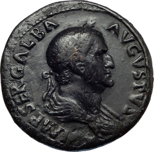 Galba Rare Ancient 68ad Rome Sestertius Authentic Roman Coin Spqr Wreath I66907