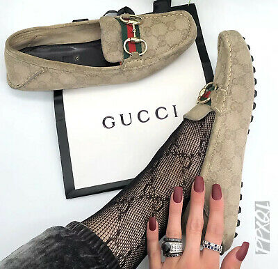 Gucci Authentic Vintage GG Logo Horsebit Classic Loafers Suede Beige 38 US 8