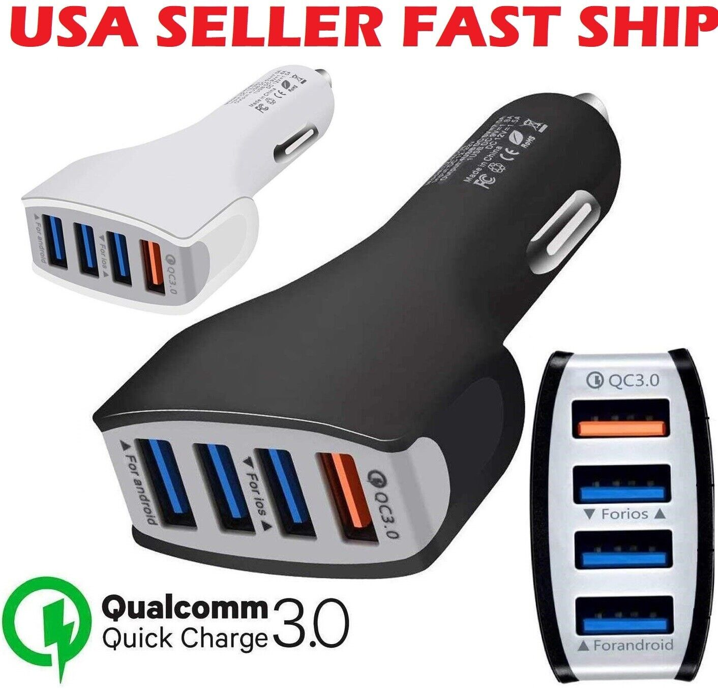 4-Port USB Fast Charging Car Charger Adapter Quick Charger For Cell Phone iPhone Cell Phone Accessories