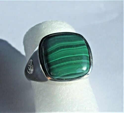 14.88+Ct+Genuine+Malachite+Signet+Ring%2C+in+8g+Stamped+925+Sterling+Silver.+UK+X
