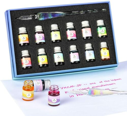 Glass Dipped Pen Ink Set-Crystal Pen with 12 Colorful Inks for Art