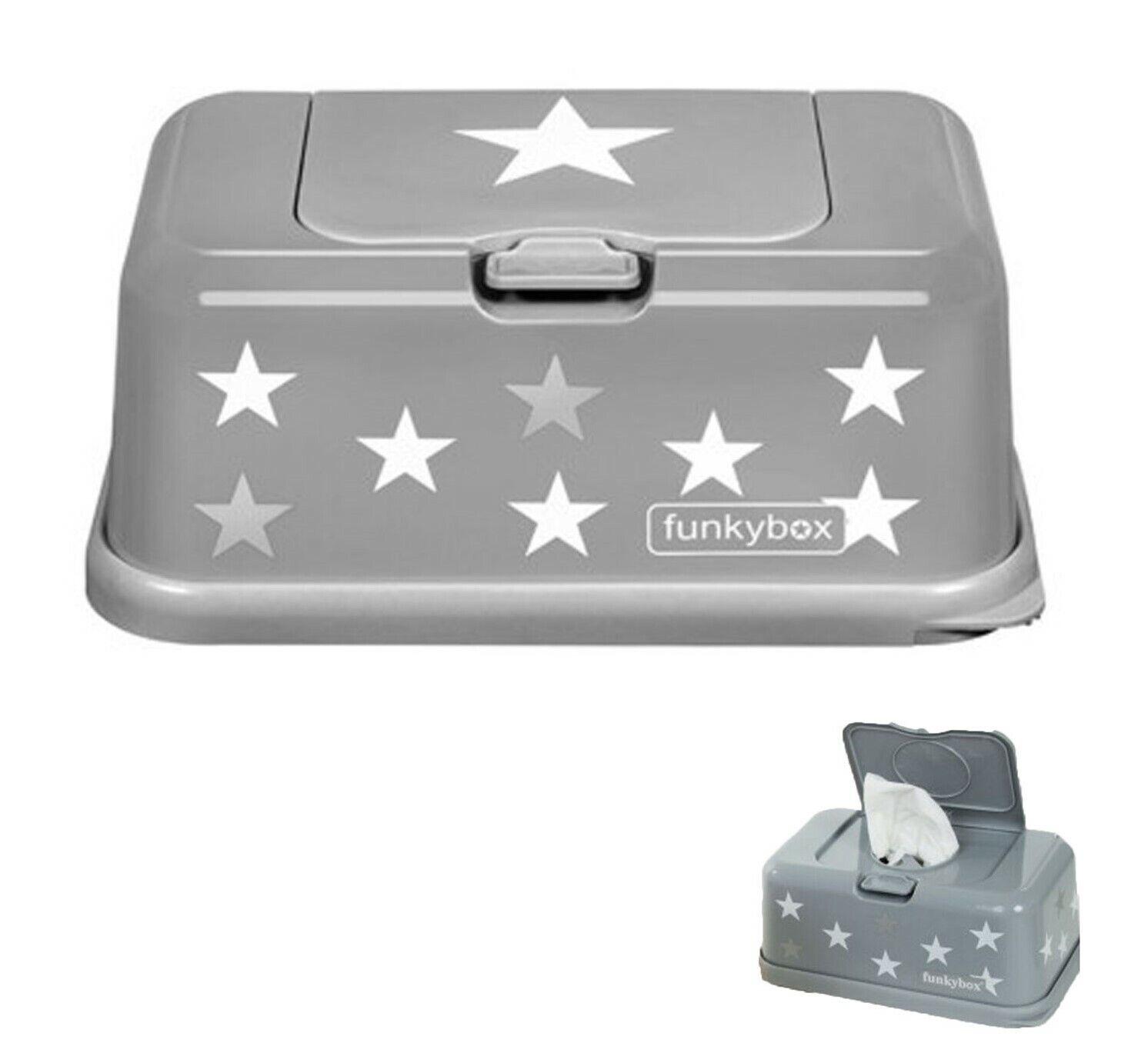 Feuchttücherbox Funkybox Tücherbox Farbe Grau mit Sternenmuster NEU