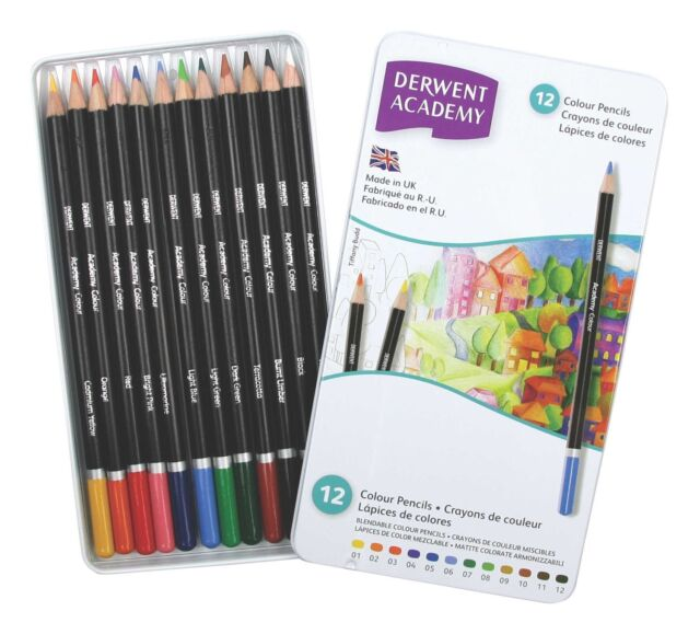 Derwent Academy Colouring Pencils 12 Tin - Assorted Soft Art Colours