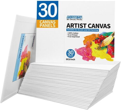 FIXSMITH Canvas Panels 30 Pack-8x10 In Painting Canvas Panel Boards-100% Cotton