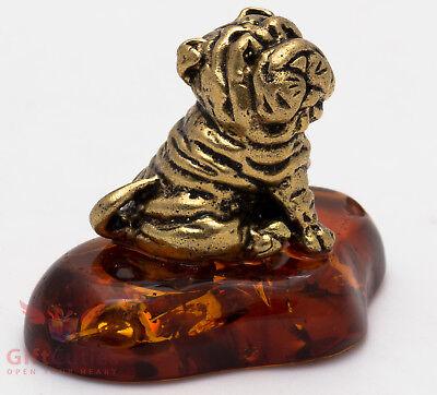 Solid Brass Amber Figurine of Chinese Shar-Pei Dog IronWork (Shar Pei Dog Figurine)