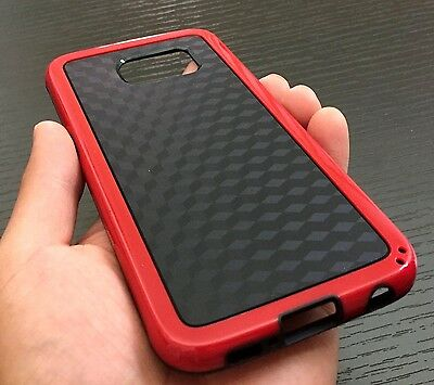 For Samsung Galaxy S6 - HARD TPU RUBBER GUMMY SKIN CASE COVER RED CUBE PATTERN