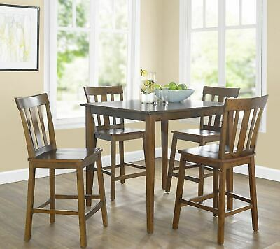 5 Piece Counter Height Dining Table And Chairs Set Bar Pub Kitchen -
