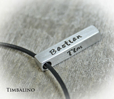 Namenskette, Barren mit Gravur, Edelstahlanhänger mit Lederkette personalisiert