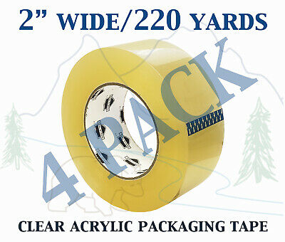 4 Pack - Carton Sealing Clear Packing Shipping Box Tape 1.75 Mil 2 X 220 Yards