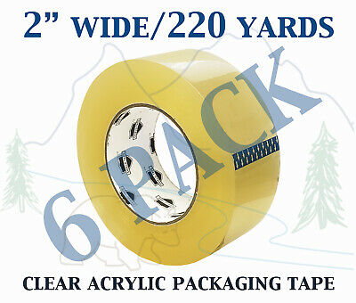 6 Pack - Carton Sealing Clear Packing Shipping Box Tape 1.75 Mil 2 X 220 Yards
