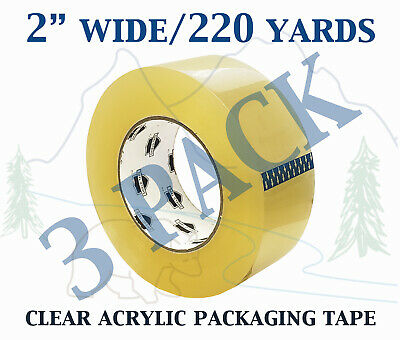 3 Pack - Carton Sealing Clear Packing Shipping Box Tape 1.75 Mil 2 X 220 Yards