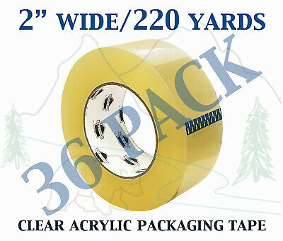 36 PACK - Carton Sealing Clear Packing Shipping Box Tape 1.75 Mil 2