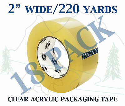 18 Pack - Carton Sealing Clear Packing Shipping Box Tape 1.75 Mil 2 X 220 Yards
