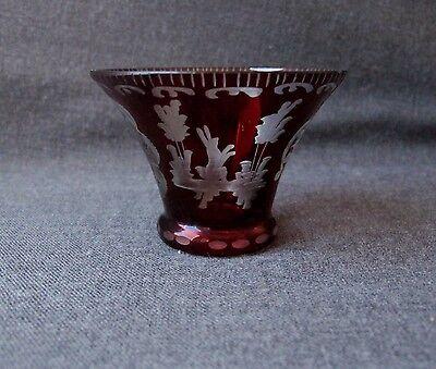 ANTIQUE EGERMANN BOHEMIAN RUBY CUT & ETCHED GLASS RABBIT & TOWER MINIATURE VASE