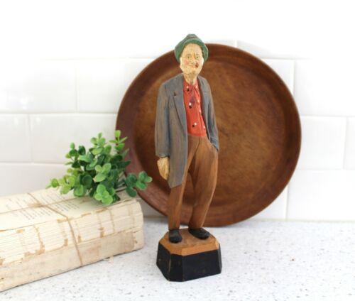 Vintage Wood Carved Man Signed PE CAPON/Vintage Folk Art Seaman - Trygg -z279