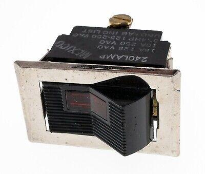 3 Position Lighted Rocker Switch - 10a250v 240v Lamp Chrome Bezel Nos