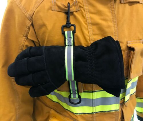Quick Release Glove Strap with reflective Trim Firefighter Turnout Gear - Green