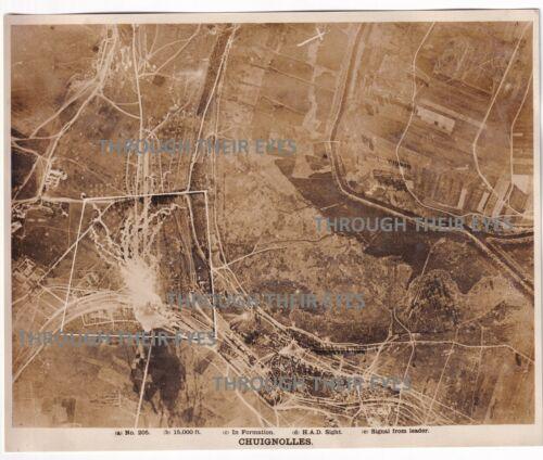 Original WW1 Aerial photo Bombing Chuignolles France  1918 103 squadron WWI Foto