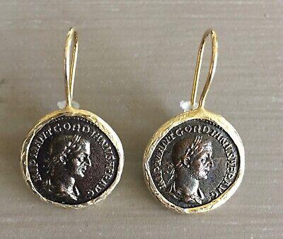 Italian Bronze Roman Coin Style Drop Pierced Earrings Italy Gold Toned NWOT NEW Coin Jewelry Earrings