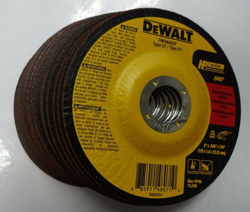 """DEWALT DWA8425F 5"""" x .040"""" x 7/8"""" Type 27 Cut-Off Wheels Metal & Stainless 25pcs"""