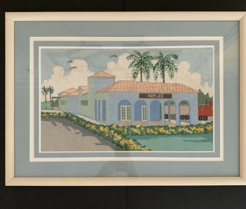 Naples Florida Train Depot Museum Finished Crewel Embroidery Framed
