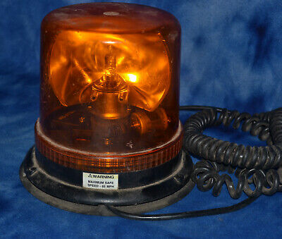 Vintage Ecco Rotating Beacon Light Tow Emergency Safety Amber Charger Plug In