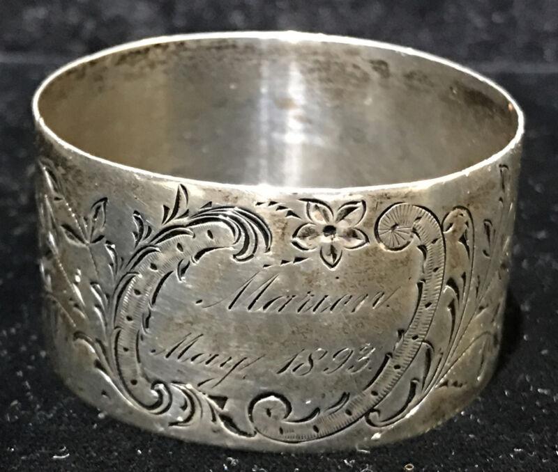 Antique GEO. C.Shreve & Co. Sterling Napkin Ring Floral Scroll design