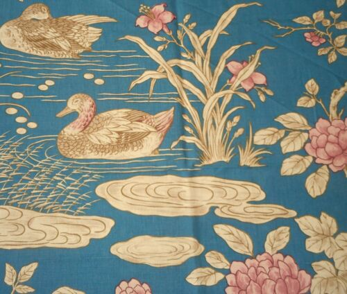 Vintage French Chinoiserie Aquatic Duck Floral Linen Fabric ~ Teal Blue Rose