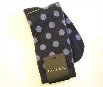 - b.ella Ladies Wool Cashmere Angora Blend Crew Socks Bea Dots Navy / Blue - NEW