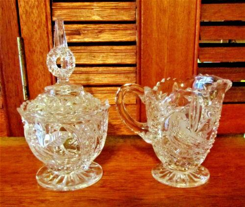 BRILLIANT LEAD CRYSTAL CUT GLASS COVERED SUGAR & CREAMER