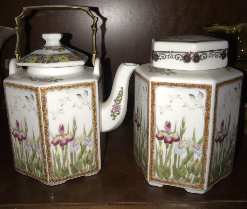 Vintage Flowers & Birds Tea Pot And Caddy Japan