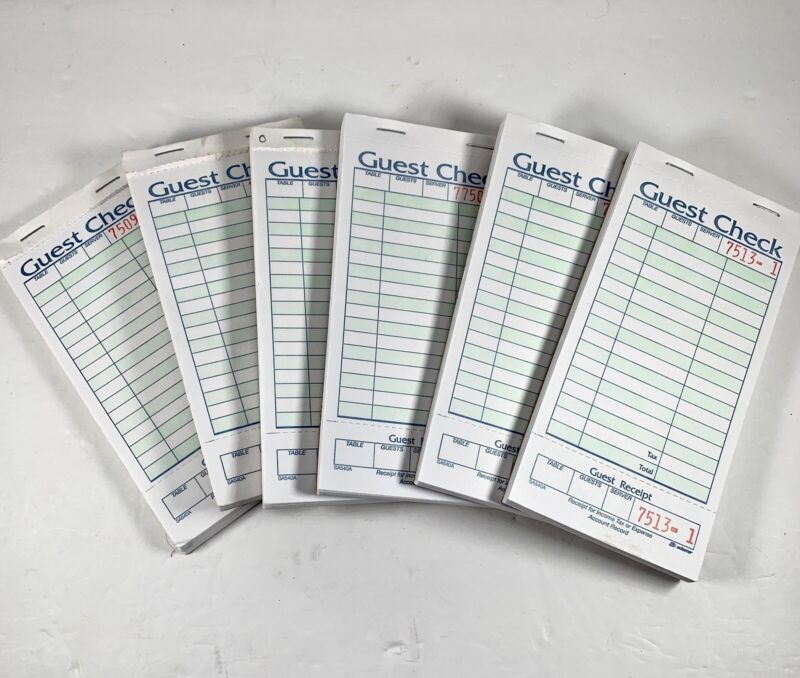 Carbonless Guest Order Receipt Check Book Bundle Of 6 Green / White New Unused