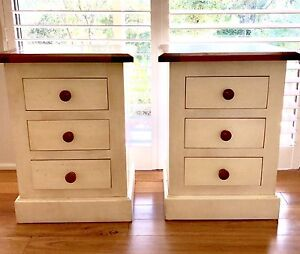 3 Drawer Natural Hardwood Bedside Lamp Table (Pair of Two) Belrose Warringah Area Preview