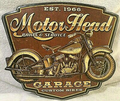 "MOTOR HEAD Parts and Service MOTORCYCLE Garage Custom Bikes Sign Metal 12"" x 10"""
