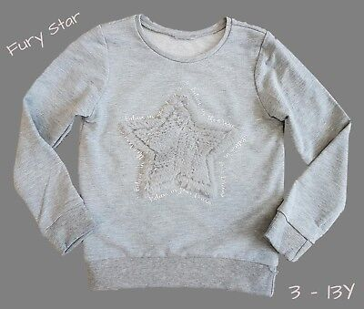 Girls Kids Jumper Sweater Sweatshirt Top Casual Warm Furry Star Ex Store 3 - 13Y