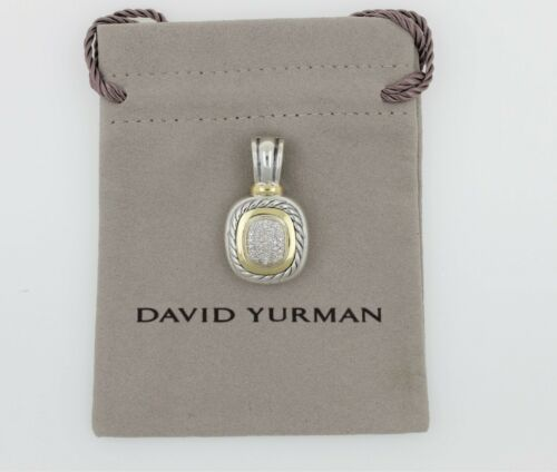 David Yurman Albion Pendant Enhancer Sterling Silver 18k Gold Diamond Large 1.5""