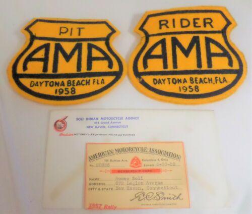 """1958 """"AMA"""" Daytona race memorabilia vintage collectible old motorcycle racing"""