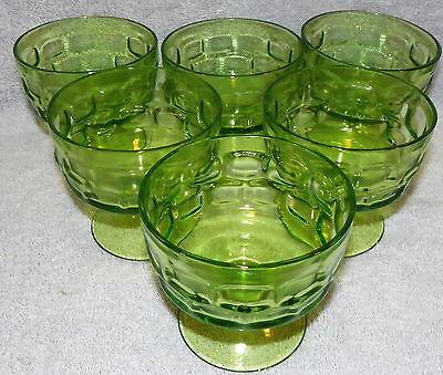 Depression Green Block Dessert Sherbet Champange Glasses- Lot of 6