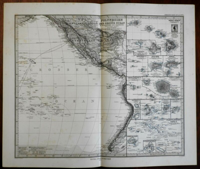 Pacific Polynesian islands Hawaii Tahiti Easter Island 1875 Stieler map